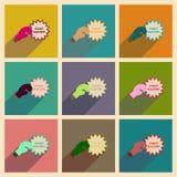 Conceito de ícones lisos com luta longa do racismo da sombra Imagem de Stock Royalty Free