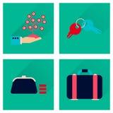 Conceito de ícones lisos com negócio longo da sombra Fotografia de Stock