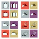 Conceito de ícones lisos com negócio longo da sombra Imagem de Stock