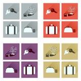 Conceito de ícones lisos com negócio longo da sombra Imagens de Stock