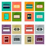 Conceito de ícones lisos com negócio longo da sombra Fotografia de Stock Royalty Free