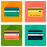 Conceito de ícones lisos com o cartão de banco longo da sombra Imagem de Stock