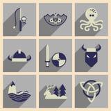Conceito de ícones lisos com os noruegueses longos da sombra Fotografia de Stock