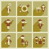 Conceito de ícones lisos com os trabalhadores de escritório longos da sombra Fotografia de Stock Royalty Free