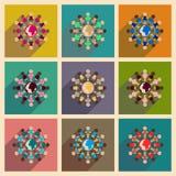 Conceito de ícones lisos com terra longa da raça da sombra Fotografia de Stock Royalty Free