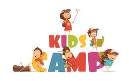 Conceito de acampamento das crianças ilustração royalty free