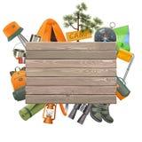 Conceito de acampamento do vetor com prancha de madeira ilustração royalty free