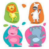 Conceito de animais selvagens engraçados bonitos dos desenhos animados Fotos de Stock
