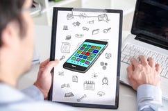 Conceito de Apps em uma prancheta foto de stock