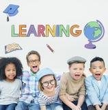 Conceito de aprendizagem acadêmico do gráfico das crianças da escola imagem de stock