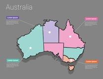 Conceito de Austrália do mapa Fotografia de Stock
