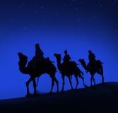 Conceito de Bethlehem do deserto do curso do camelo de três homens sábios Fotografia de Stock Royalty Free