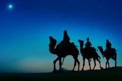 Conceito de Bethlehem do deserto do curso do camelo de três homens sábios Fotos de Stock