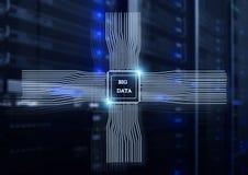 Conceito de Big Data no fundo moderno da sala do servidor ilustração do vetor