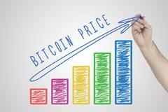 Conceito de Bitcoin Entregue a carta de negócio crescente do desenho que mostra o crescimento do preço de Bitcoin foto de stock royalty free