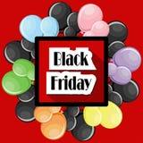 Conceito de Black Friday com balões coloridos e quadro vermelho quadrado Imagens de Stock