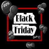 Conceito de Black Friday com balões pretos e quadro vermelho quadrado Imagem de Stock Royalty Free