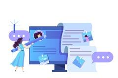 Conceito de Blogging Ideia de meios e da rede sociais ilustração stock