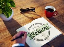 Conceito de Brainstorming About Believe do homem de negócios Foto de Stock Royalty Free