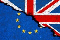 Conceito de Brexit Bandeiras do Reino Unido e do europeu uni ilustração royalty free