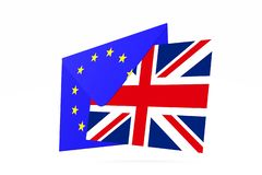 Conceito de Brexit Reino Unido que sae da UE 3d rendem ilustração royalty free