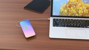 Conceito de carregamento do smartphone sem fio