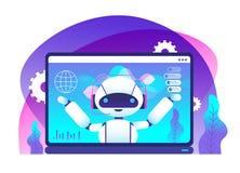 Conceito de Chatbot Clientes dos conselhos do robô do Ai Serviço ao cliente da linha de apoio ao cliente Apoio virtual e vetor mó ilustração stock
