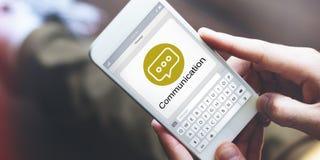 Conceito de Chatting Social Networking do mensageiro fotos de stock