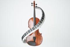 Conceito de chaves envelhecido do violino e do piaone rendição 3d Fotografia de Stock Royalty Free