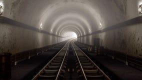 Conceito de chegada do túnel velho realístico do metro do metro ilustração do vetor