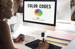 Conceito de Colorscheme dos códigos de cor da faculdade criadora da cor imagem de stock