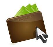 Conceito de compra da carteira e do cursor Fotografia de Stock Royalty Free