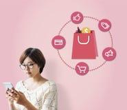 Conceito de compra da compra da venda do disconto da consumição Imagens de Stock
