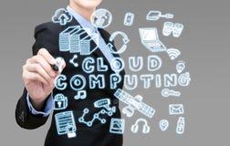 Conceito de computação da ideia da nuvem da escrita da mulher de negócio fotos de stock