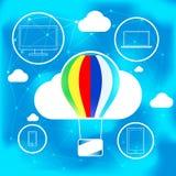 Conceito de computação da nuvem com o balão de ar quente fotos de stock