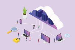 Conceito de computação da nuvem 3d isométrica com povos da equipe e o vário computador do smartphone do portátil da plataforma do ilustração stock