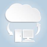 Conceito de computação da nuvem de papel Fotografia de Stock Royalty Free