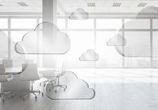 Conceito de computação da nuvem Meios mistos Fotografia de Stock Royalty Free