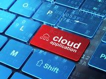 Conceito de computação da nuvem: Rede da nuvem e aplicação da nuvem sobre Imagem de Stock Royalty Free