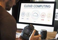 Conceito de computação do gráfico do armazenamento de Digitas dos dados da nuvem Imagem de Stock Royalty Free