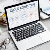 Conceito de computação do gráfico do armazenamento de Digitas dos dados da nuvem Imagem de Stock
