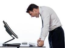 Conceito de computação do erro do conflito do computador do homem Imagem de Stock Royalty Free