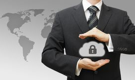 Conceito de computação fixado da nuvem em linha com negócio Imagem de Stock Royalty Free