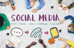 Conceito de conexão da mensagem social de Media Communication fotografia de stock