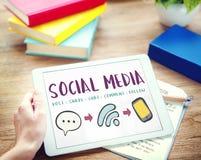 Conceito de conexão da mensagem social de Media Communication imagens de stock