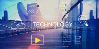 Conceito de conexão da rede da nuvem da tecnologia imagem de stock