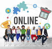 Conceito de conexão do Internet da comunidade da rede em linha Fotos de Stock Royalty Free