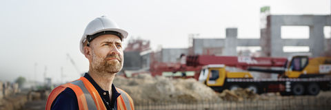 Conceito de Construction Site Planning do arquiteto do coordenador fotografia de stock royalty free