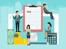 Conceito de contas de imposto das faturas pagamento em linha atrav?s do computador ou do port?til Servi?o em linha do pagamento V ilustração stock