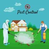 Conceito de controlo de pragas com ilustração lisa do vetor da silhueta do exterminador dos insetos Fotos de Stock